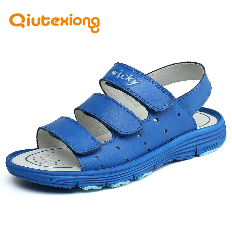 QIUTEXIONG Summer Kids Sandals Genuine Leather Boys Beach Shoes Children Sandals Cow Split Sport Casual Sandal For Boy sandalias