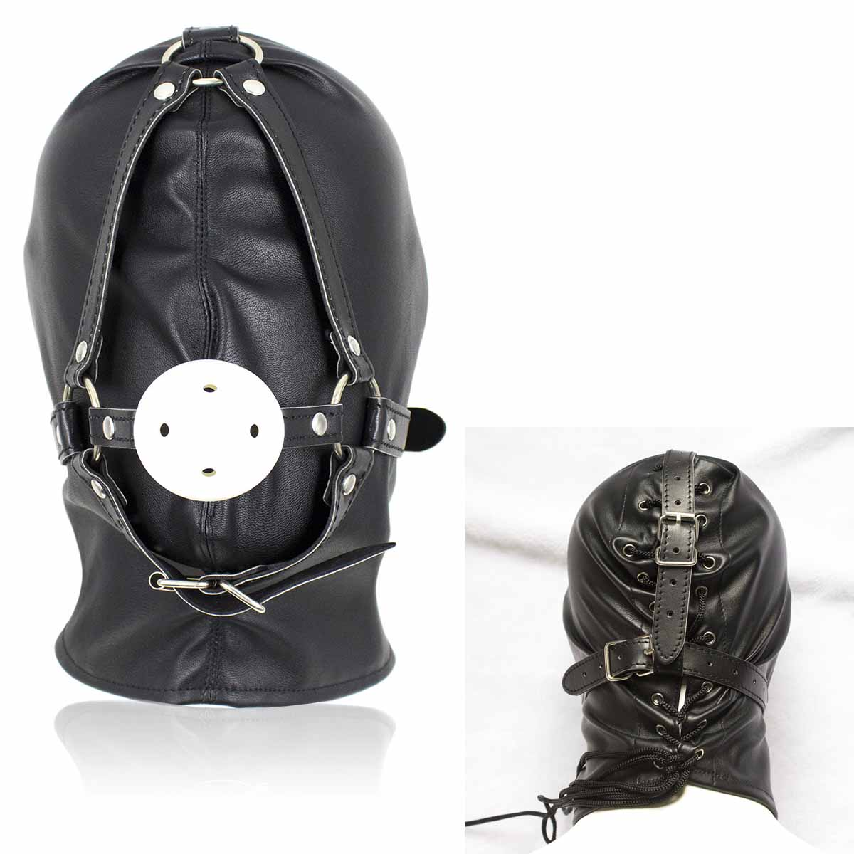 Fully Enclosed Hood Mask Soft Faux Leather Headgear Blindfold Roleplay Cosplay