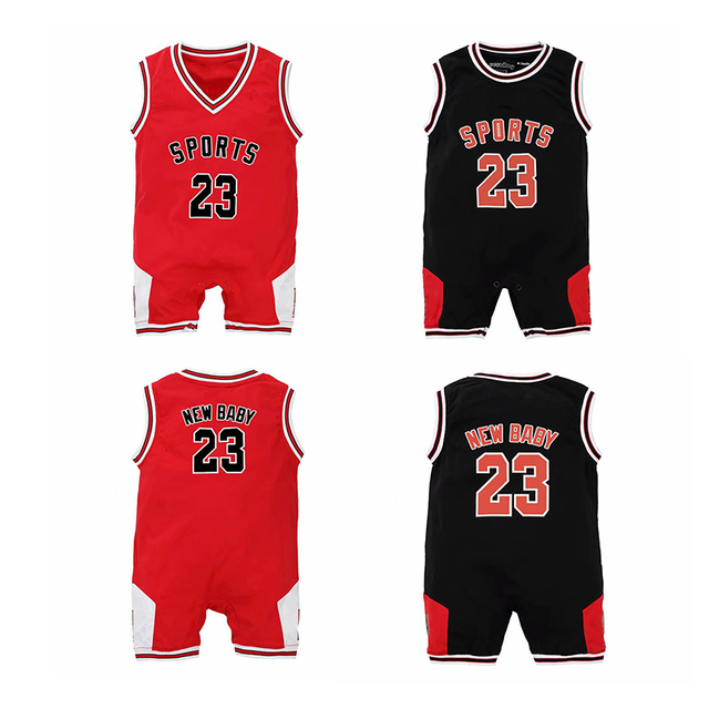 47fa4069 YSCULBUTOL Twin baby Sport basketball bodysuit Funny Color Red Black big  brother Twin Newborn baby clothing