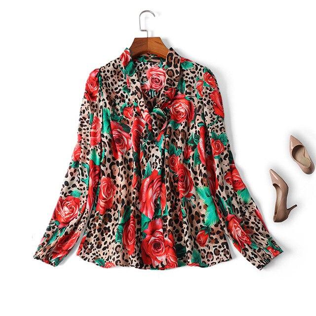 9fd9fbb7826ce0 Women elegant bow collar silk tops chiffon long sleeve blouse sexy animal  leopard rose print shirts loose new 2019 spring summer