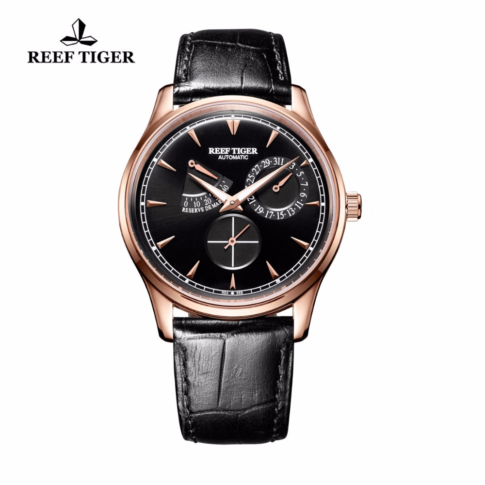Reef Tiger/RT Elegant Mens Watch with Complete Calendar Power Reserve Rose Gold Automatic Watch RGA1980 reef tiger rt mens elegant automatic watches with power reserve complete calendar rose gold watch rga1980
