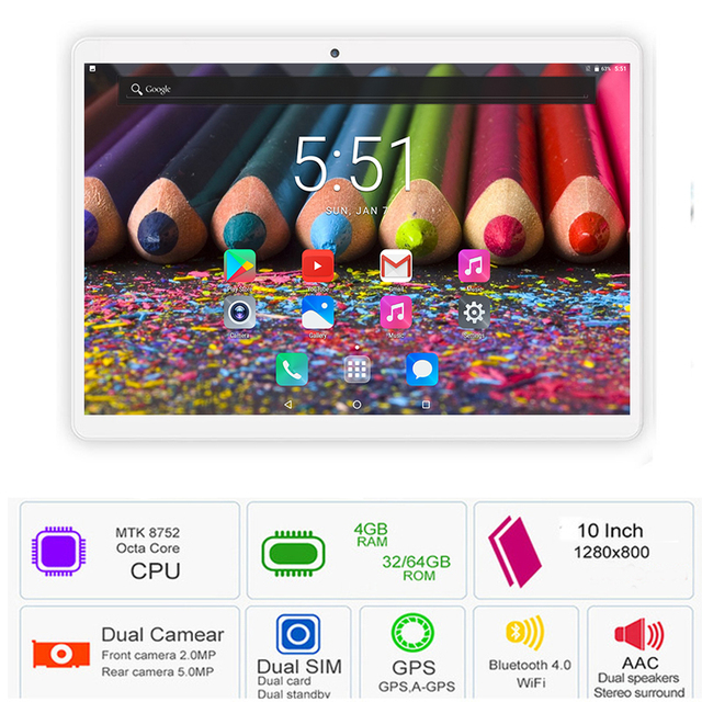 2019 Mới 10 inch Tablet PC Android 8.0 Octa Lõi 4 GB RAM 64 GB ROM 8 Lõi IPS 1280*800 Máy Tính Bảng Màn Hình 10.1 + Quà Tặng