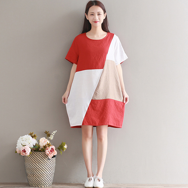 5c6a2fec11 Summer Women Vintage Patchwork Cotton Linen Dress Casual Loose Short Sleeve  Knee Length Dress Baggy Boho