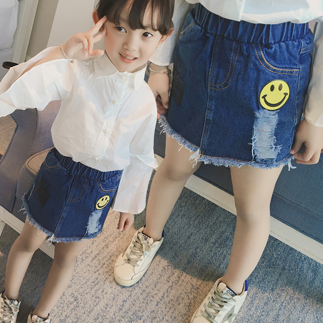 New 2017 Girls Jeans Skirts Baby Fashion Denim Skirt Children Smile Face Toddler Letters Skirt Spring Summer Kids Clothes,2-7Y