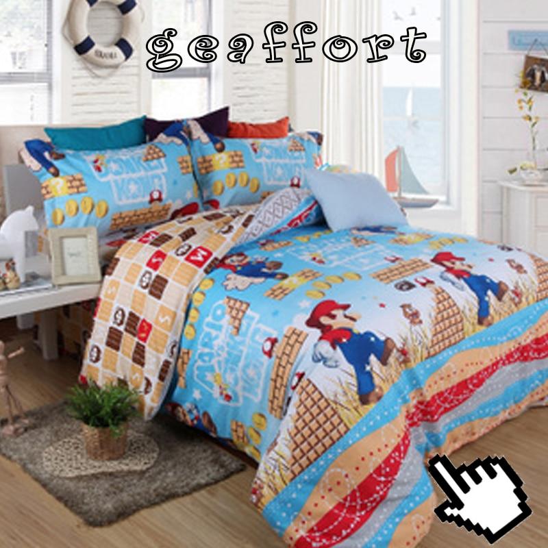 Geaffort super mario cartoon children room 4pcs bedding for Living room quilt cover