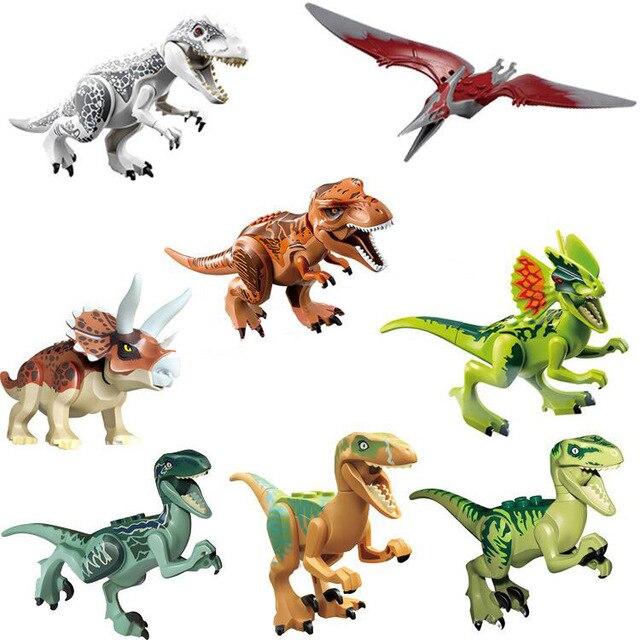 80pcs Super Heroes Jurassic World Dinosaurs Figures Tanystropheus Tyrannosaurus Rex Building Block Toys