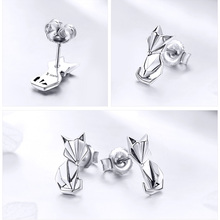 925 Sterling Silver Fox Shaped Earrings