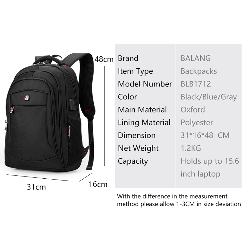 Balang Brand Casual Unisex Backpack Multifunction Usb Charging For Men Backpacks 15.6 Laptop Teenager Bagpack Students Bags #6