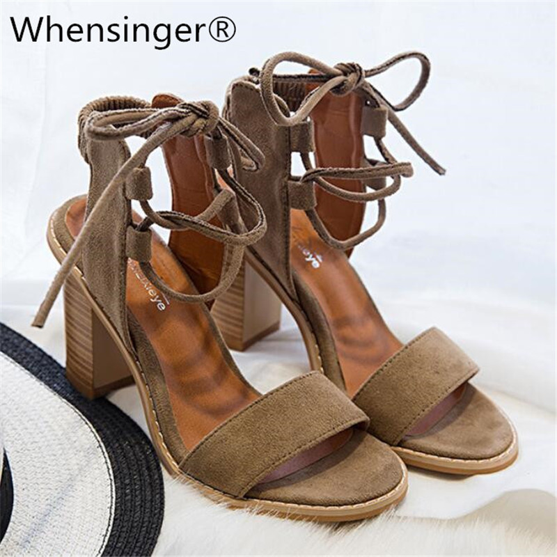 2018 Sexy Women Pumps Open Toe Lace up Heels Sandals Woman sandals Thick with Women Shoes women High heels Red black camel loslandifen sexy gladiator women sandals open toe lace up thick high heels shoes ladies summer red bridal party shoes 368a 1pa