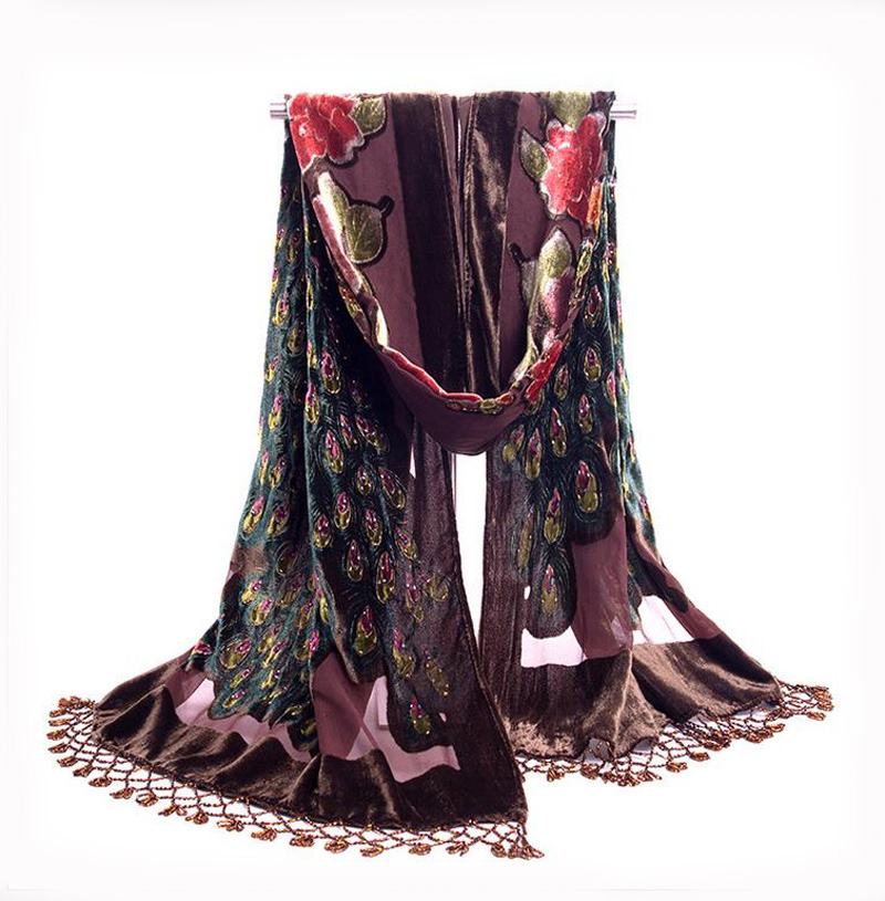 Brown National Trends Handmade Beaded Embroidery Scarf Velvet Silk Shawls Scarves Floral Peacock Echarpes Tassels Kerchief NP063