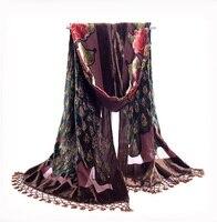 Коричневый национальных тенденций ручной работы из бисера вышивка шарф бархат шелковые платки шарфы цветочные павлин Echarpes кисточки платок...