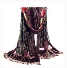 Бархатный шарф ручной работы с вышивкой бисером, шелковые шарфы с кисточками и цветочным принтом, NP063