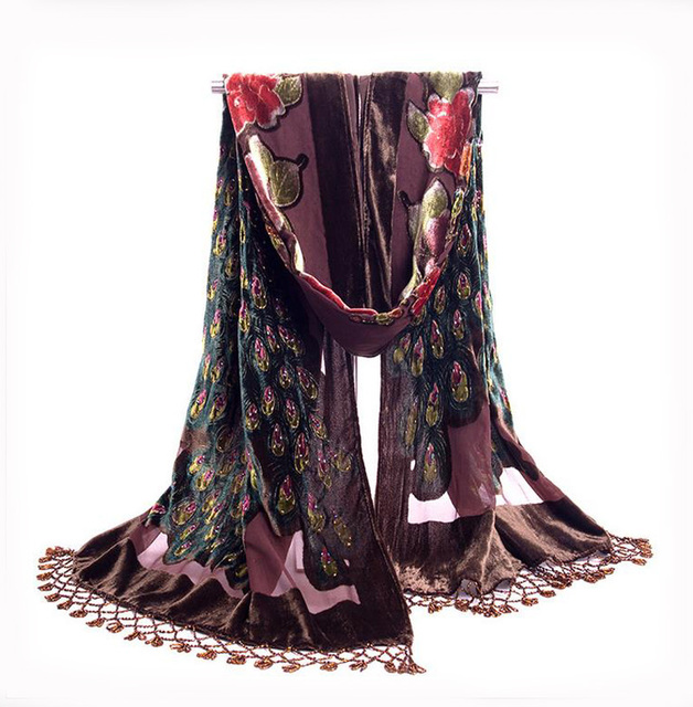 Brown National Trends Handmade Beaded Embroidery Scarf Velvet Silk Shawls Scarves Floral Peacock Echarpes Tassels kerchief NP063