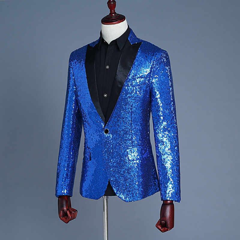 Мужской королевский синий блейзер Masculino Ternos Masculinos Slim Fit Мужской s Золотой смокинг с блестками красный блейзер мужская повседневная куртка с блестками