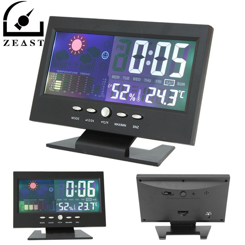 Color LCD Screen Calendar Digital Car Clock Car Thermometer Weather Forecast Black clear lcd screen digital thermometer white