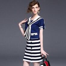 Sailor Collar Suits Dress Women Two Pieces Patchwork Short Sleeve Elastic Waist Mini Dress Ladies 2017 Preppy Style