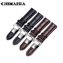 цена на Brown Black Leather Strap Genuine Calf Watch Strap Size 14mm 16mm 18mm 19mm 20mm 21mm 22mm  Soft Durable Croco Grain Watchband