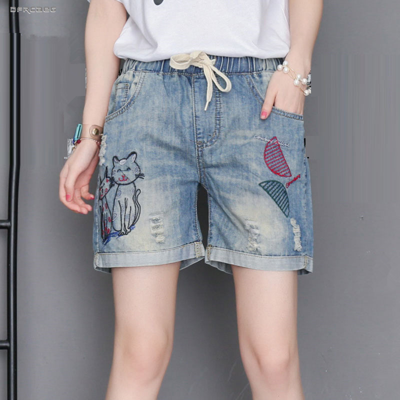 Streetwear Plus Size Summer Denim Shorts Feminino 2019 Elastic Waist Cat Embroidery Women Jeans Shorts Retro Saias Jean 4XL
