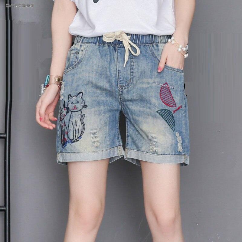 Streetwear Plus Size Summer Denim Shorts Feminino 2019 Elastic Waist Cat Embroidery Women Jeans Shorts Retro Saias Jean 4XL