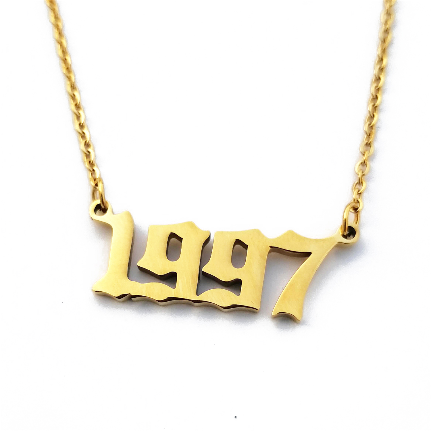 Custom Jewelry Personalized Birthday Year 1997 Number Necklace For Women Collier Femme BFF Statement Pendant Necklace Gold Chain