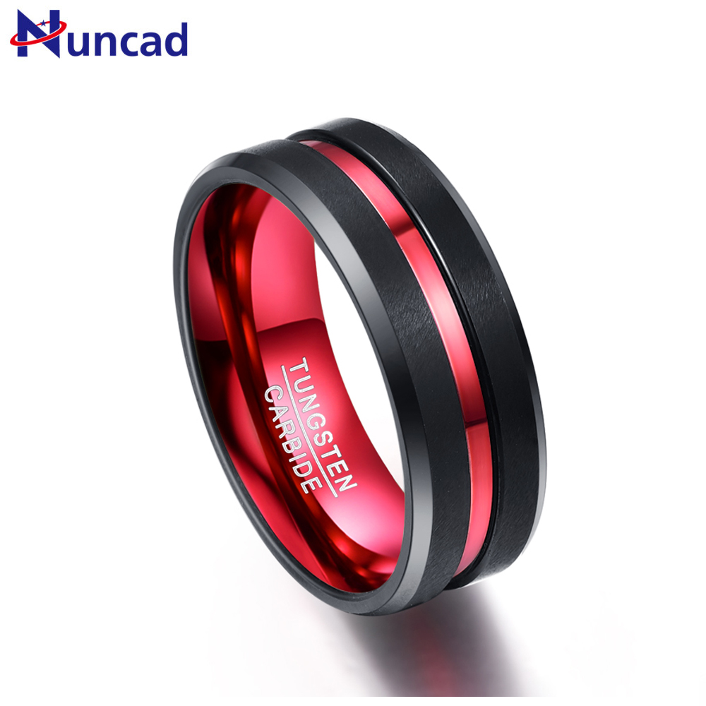 Nuncad 8 MM de large ne se décolore jamais anneaux en acier de tungstène avec une seule rainure rouge bague de fiançailles pour hommes