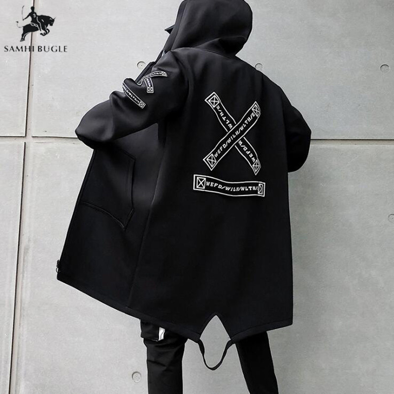 Trench   Coat Men Print Fashion 2019 Spring Harajuku Windbreaker Overcoat Male Casual Outwear Hip Hop Streetwear Coats