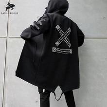 Trench Coat Men Print Fashion 2019 Spring Harajuku Windbreaker Overcoat Male Cas
