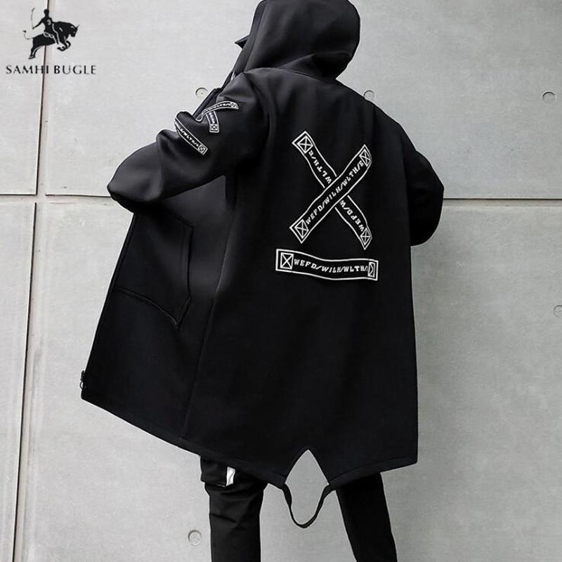 M-5XL   Trench   Coat Men Print Fashion 2019 Spring Harajuku Windbreaker Overcoat Male Casual Outwear Hip Hop Streetwear Coats