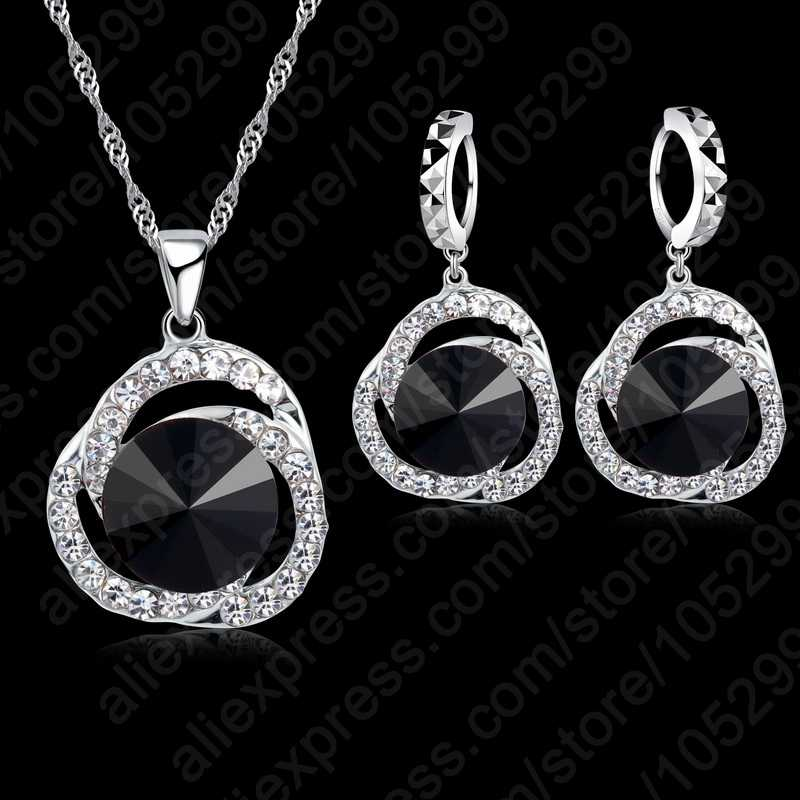 Luxury Black Color Wedding Cubic Zircon Crystal Jewelry Sets 925 Sterling Silver Necklace Earrings For Women
