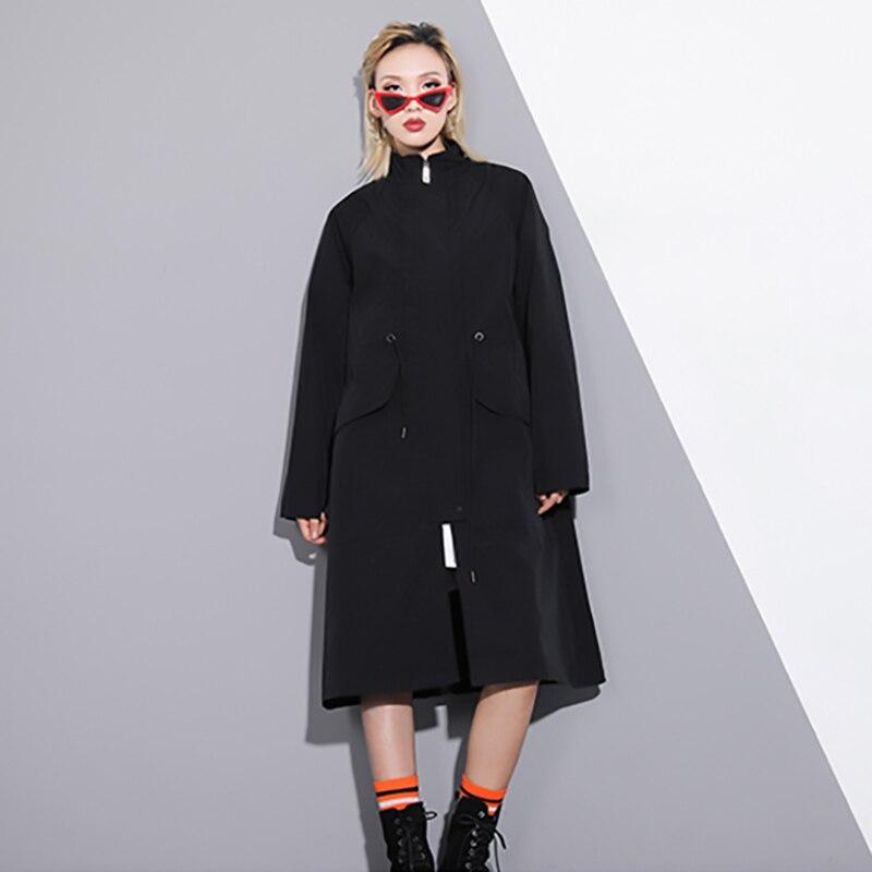 Modello Di Manica Estate Donne Modo Della 2019 Giacca Black Vento Basamento Del Delle Nuovo Collare Molla Lunga A Stile Nero Perdere E1xaq7