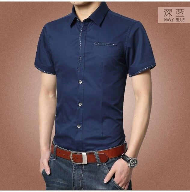 Рубашки с коротким рукавом мужчин уменьшают подходящие деловое платье мужская camisa masculina бесплатная доставка