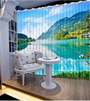 3D Curtain Fashion Customized Lake Landscape Curtains For Bedroom Custom Any Size 3D Curtain Blackout Curtain Living Room