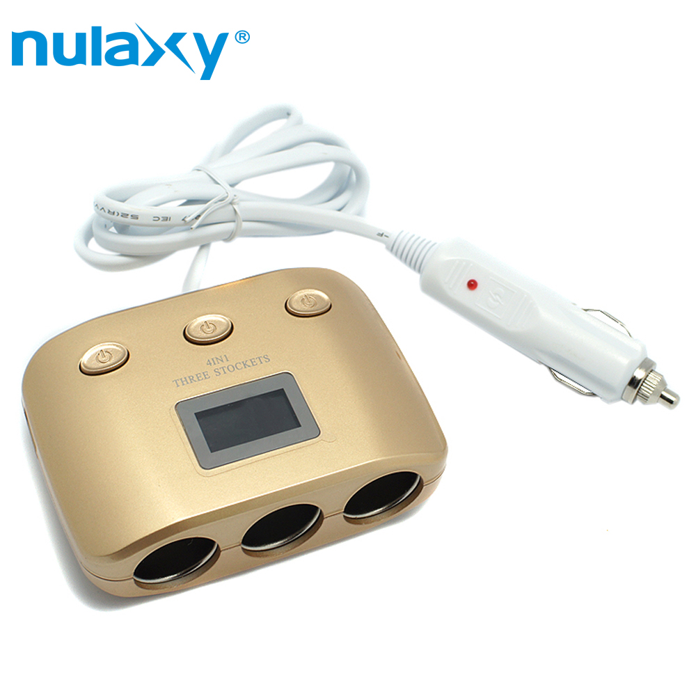 Nulaxy 12V/24V 120W 3 Way Auto Sockets Car Cigarette Lighter Adapter Socket Splitter 2 USB Car Charger Power Adapter
