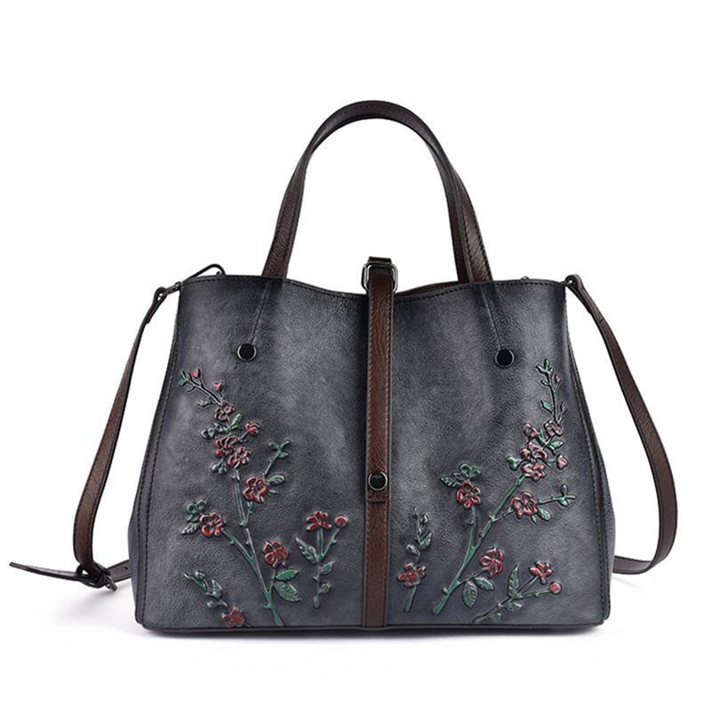 Bolsos Mujer Bags For Women Luxury Handbags Women Bags Designer Flower Pattern Genuine Leather Shoulder Messenger Bag sac a Main in Top Handle Bags from Luggage Bags