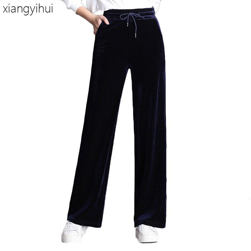 Winter Fashion Velvet Pocket Blue Sweatpants Women Casual Autumn   Pants   Spring High Elastic Waist Long Trousers   Wide     Leg     Pants