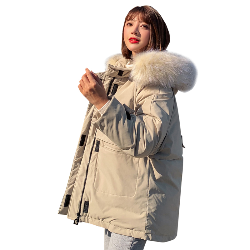WXWT Winter Jacket Parkas 2019 Winter New Women's Fashion Large Fur Collar Hooded Thick Cotton Down Jacket Russian Winter Coat