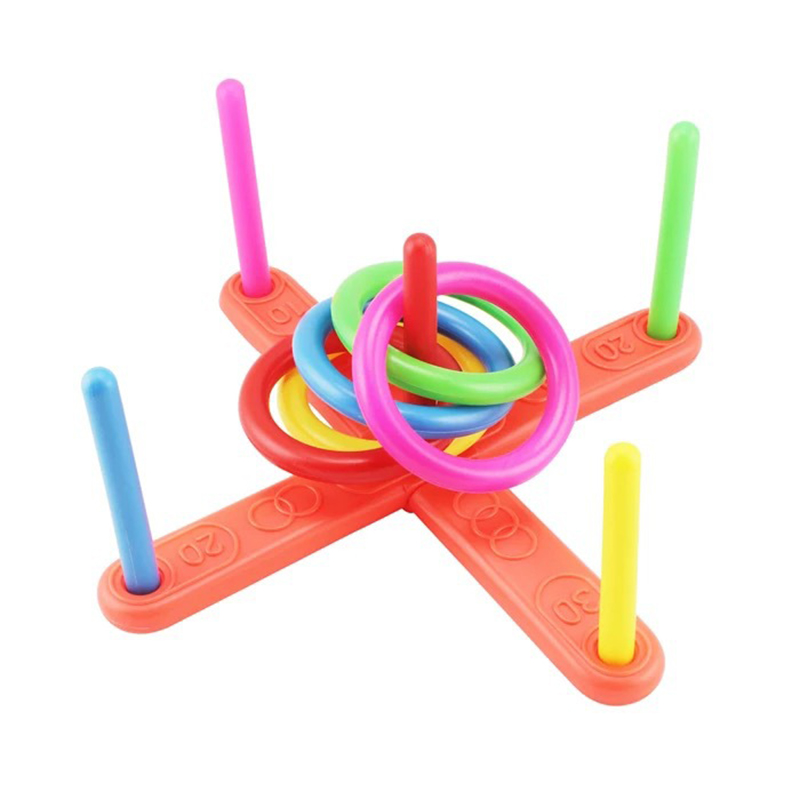1 Set Hoop Ring Toss Quoits Plastic Ring Throwing Ferrule Funny Kids Outdoor Sport Toys Cross Garden Game Pool For Children Gift
