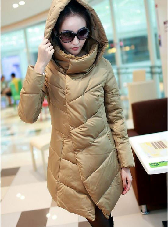 2013 New Authentic WomenS White Duck Down Jacket Female Long Slim Korean Stand Collar Pleated Irregular Fashion Down Coat H1139