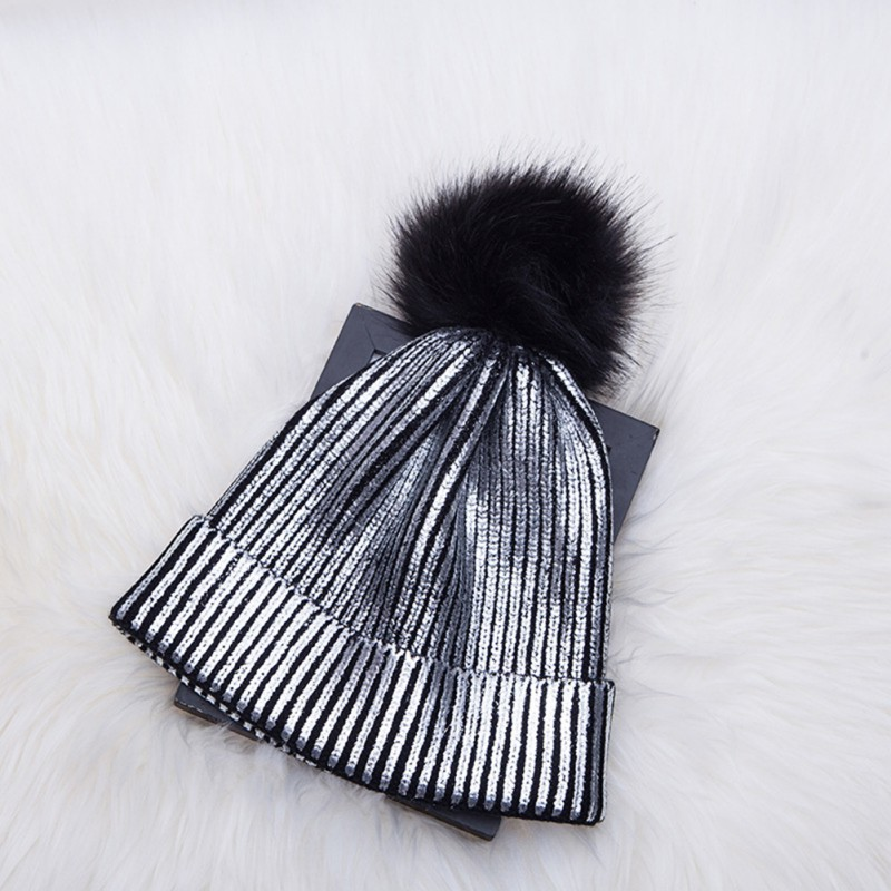 Winter Casual Beanies Stylish Knit Fashion Fur Ball Knitting Folds Unisex Warm Wool Skullies Solid Color Beanies in Men 39 s Skullies amp Beanies from Apparel Accessories
