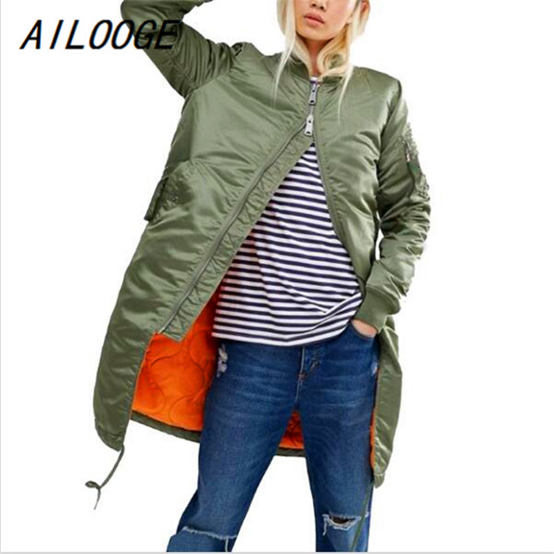 AILOOGE Winter Long   Jackets   And Coats Spring Female Coat Casual Military Olive Green Bomber   Jacket   Women   Basic     Jackets   Plus Size