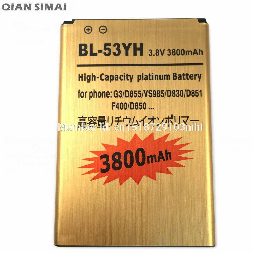 QiAN SiMAi Nouveau 3800 mAh BL-53YH Or Remplacement Rechargeable Batterie Pour LG G3/D855/VS985/D830/D851/F400/D850