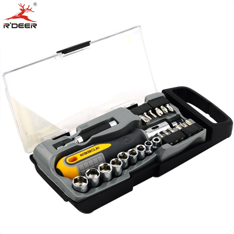 23 Pcs/Set Screwdriver Set Straight Handle Ratchet Wrench Screwdrivers Combination Phillips Slotted Hand Tools xkai 14pcs 6 19mm ratchet spanner combination wrench a set of keys ratchet skate tool ratchet handle chrome vanadium