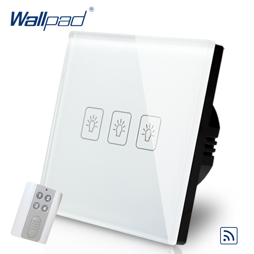 Remote 3 Gang 1 Way  EU European Wallpad White Glass Wireless RF Wifi Support 3 Gang Touch Remote Control Switch Free Shipping eu 1 gang wallpad wireless remote control wall touch light switch crystal glass white waterproof wifi light switch free shipping