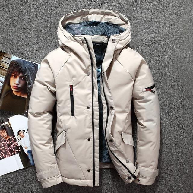 Chaqueta de invierno para hombre gris Rojo Negro Blanco moda elegante  cremallera pato plumón Chaqueta Hombre d3575ea0b4b2