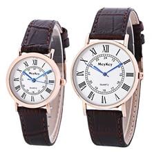 adb54392bbd Vendas Hot algarismos Romanos Relógios De Couro Genuíno Dos Homens Das  Mulheres Amantes Casal Casual Vestido de Quartzo Relógio .