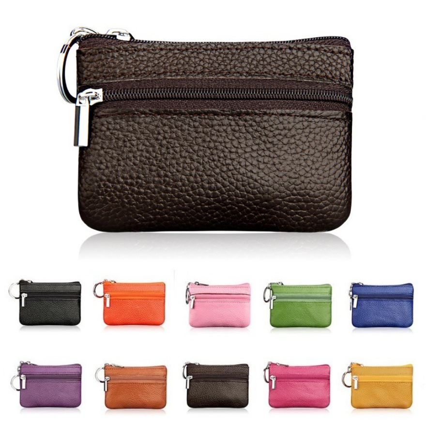 Mini Pouch Pocket Wallets Women Small PU Leather Coin Purse Zipper Change Money Bags Key Holder Case ID Card Holde Zipper Purses