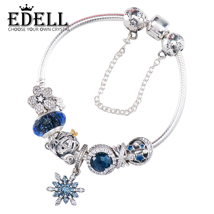 e6cdfd6d7 EDELL 100% 925 Sterling Silver Brand New 1:1 Genuine Glamour Night and Star  Shine Snowflake Bracelet Set Elegant Temperament