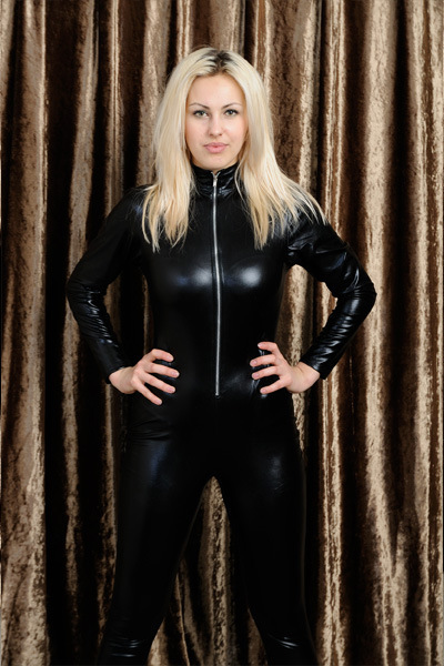 Sexy Cat Woman High Collar Bodysuits Bondage Faux Leather -4112