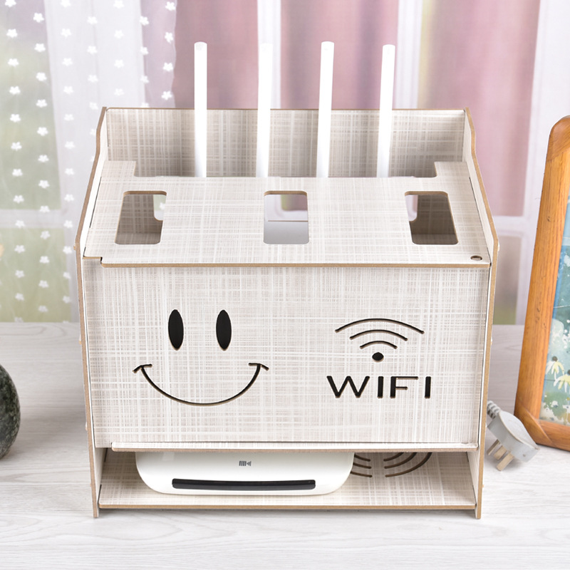 Lovely Smiling Face Cable Storage Box Wireless Wifi Router Box Wood Plastic Shelf Bracket Cable Storage