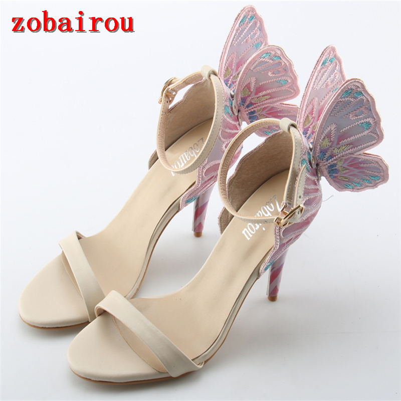 Zobairou gladiator sandals women metallic gold wing high heels summer shoes peep toe ankle strap sandalias mujer 2018 pumps